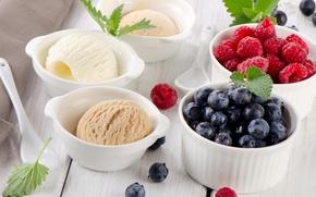 Картинка ягоды, мороженое, посуда, десерт