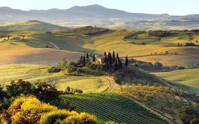 Обои горы, природа, дома, деревья, дорога, Пейзаж, холмы, осень