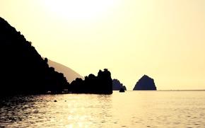 Картинка море, вода, солнце, скалы, силуэт, sunshine, Крым, золотое, sun, солнечный свет, sunlight