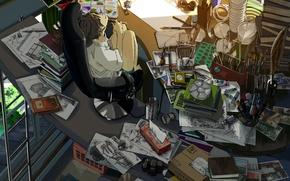 Картинка кот, девушка, улыбка, комната, краски, книги, аниме, наушники, плеер, фотоаппарат, рисунки, art