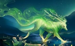 Картинка ночь, озеро, холмы, человек, собака, арт, фонари, рога, зверь, sakimichan