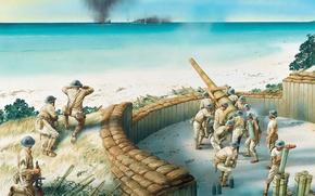 Картинка пути, огонь, остров, арт, солдаты, части, артиллерия, береговая, между, WW2., ведет, середине, 1941г., противнику, Океания, ...