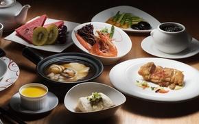 Картинка арбуз, киви, суп, мясо, креветка, овощи, десерт, блюда, ассорти