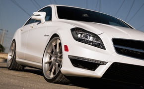 Картинка белый, Mercedes-Benz, white, AMG, передняя часть, мерседес бенц, CLS-Klasse, C218, CLS 63