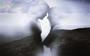 Обои love, clouds, couple, countryside