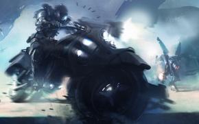Картинка оружие, движение, фантастика, скорость, роботы, мотоцикл, байк, fantasy, art, выстрелы