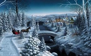 Картинка зима, звезды, снег, мост, река, лошадь, елка, дома, ель, вечер, деревня, Рождество, Новый год, повозка, …