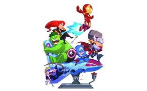 Картинка фон, Iron Man, Captain America, Thor, Marvel Comics, Black Widow, The Avengers, Hawkeye, The Hulk