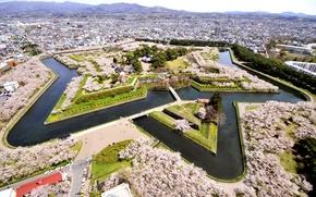 Обои Hakodate, канал, парк, Goryokaku Park, панорама, Япония, дизайн