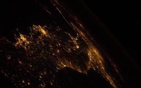 Картинка космос, ночь, города, земля