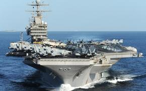 Картинка океан, истребители, авианосец, Многоцелевой, с ядерной энергоустановкой, USS Abraham Lincoln, пятый корабль типа «Нимиц», номер …