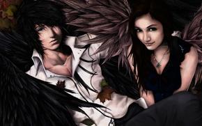 Картинка девушка, крылья, арт, парень, осень, листья