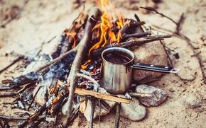 Обои кофе, утро, костер, поход, morning, Coffee