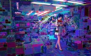 Обои улица, hatsune miku, магазин, вокалоид, арт, vocaloid, город