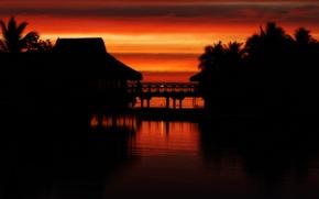 Картинка закат, тропики, таити, moorea