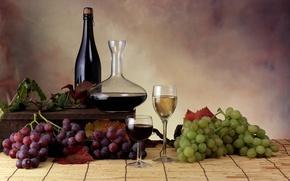 Обои бутылки, вино, виноград, бокалы, листья
