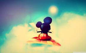 Картинка полет, микки маус, cute mickey mouse, красные штаны