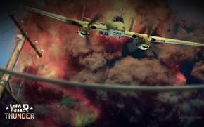 Картинка взрыв, огонь, дым, бомбардировщик, бомбы, Пе-2, советский, Пешка, Buck, War Thunder, пикирующий, Петляков