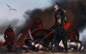 Картинка wolf, witcher, geralt, The Witcher 3: Wild Hunt, Ведьмак 3: Дикая Охота, geralt of rivia