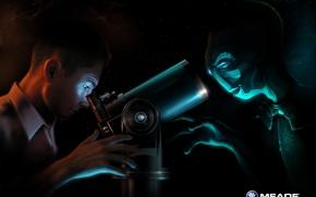 Обои парень, инопланетянин, телескоп
