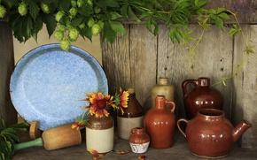 Картинка листья, посуда, хмель, графины
