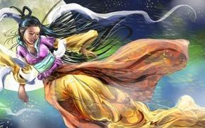 Картинка небо, взгляд, девушка, луна, волосы, япония, арт, кимоно, живопись