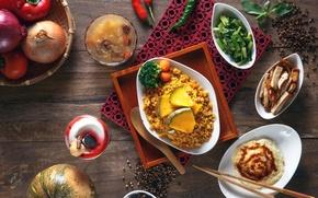 Картинка лук, тыква, перец, рис, овощи, блюда, ассорти