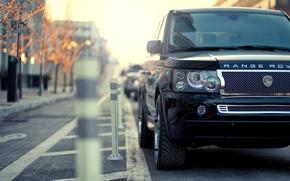 Картинка город, парковка, range rover, рендж ровер