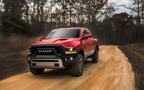 Обои 1500, Red, Power, Rebel, Pickup, Hemi, Dodge, Ram