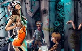 Картинка девушка, фантастика, робот, удивление, арт, киборг, мальчишки