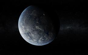 Обои Рельеф, Звезды, Спутник, Планета