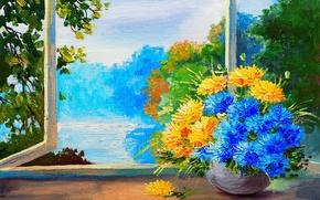 Обои пейзаж, подоконник, вид, рисунок, деревья, букет, окно, краски, цветы, ваза