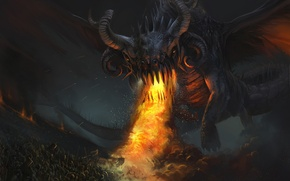 Картинка fire, dragon, Army, darkness, creature