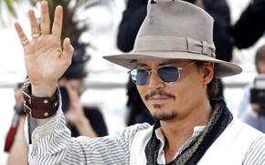 Картинка взгляд, шляпа, очки, актер, johnny depp