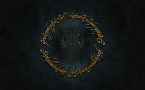 Картинка logo, gold, Lord of The Rings, Tolkien, Sindarin