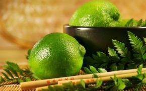 Обои зеленый, лимон, фрукт, лайм