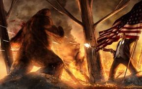 Картинка брызги, огонь, кровь, мужик, Лес, флаг, сигара, пулемет, США, пули, йети