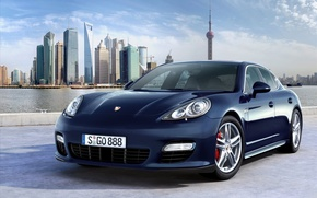 Обои Porsche, синий, Шанхай