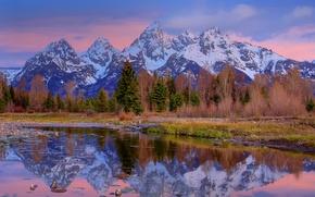 Картинка лес, небо, облака, деревья, горы, природа, озеро, река, камни, Wyoming, сша