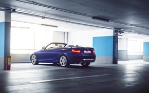Картинка BMW, German, Car, Blue, Cabriolet, Garage, Rear, 220D