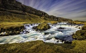 Картинка горы, река, скалы, поток, Исландия, Iceland