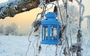 Картинка зима, снег, деревья, природа, фонарь