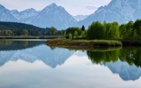 Картинка деревья, горы, природа, озеро, Yellowstone National Park