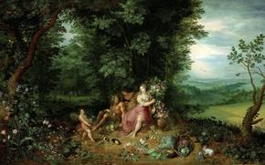 Обои картина, Аллегория Стихии Земли, Ян Брейгель младший