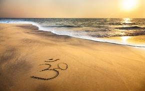 Обои om symbol, sand, brahma, indian, ocean, beach, sea, sunset, море