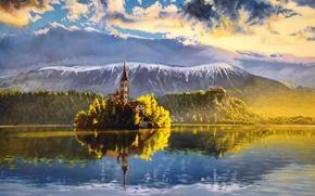 Обои небо, вода, облака, деревья, пейзаж, горы, природа, отражение, живопись
