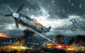 Картинка небо, облака, истребитель, Арт, реактивный, War Thunder, ВВС Германии, неметский, Bf109