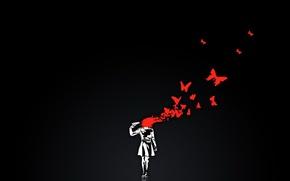 Картинка бабочки, пистолет, черный, кровь, минимализм, вектор
