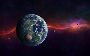 Картинка звезды, сияние, планета, спутники