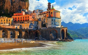 Картинка city, waves, rock, beach, tower, sky, sea, landscape, Italy, coast, bridge, water, mountains, clouds, sand, …